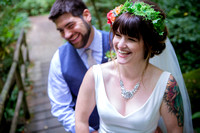 Bride and Groom Laugh in Washington State Park