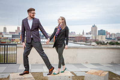 Skyline engagement session in Milwaukee Wisconsin